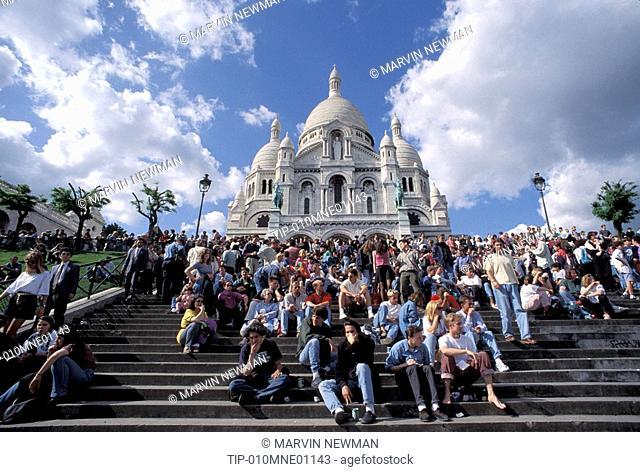 Europe, France, Paris, Montmartre, Sacre Coeur steps