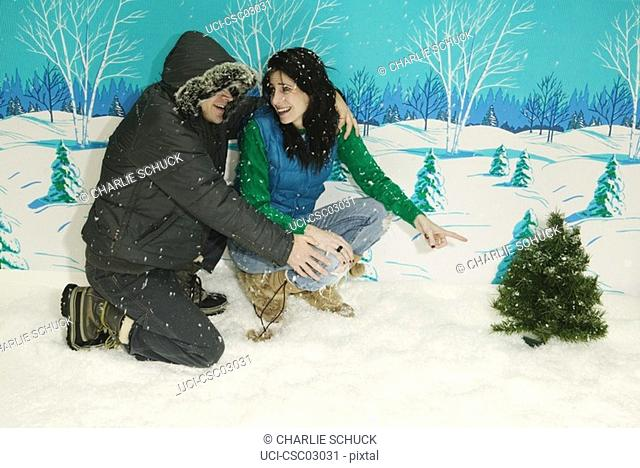 Couple pointing at miniature Christmas tree