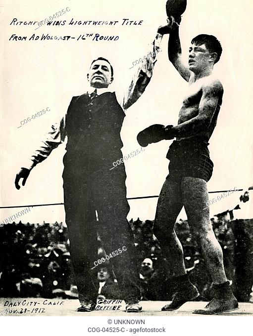 The boxer Willie Ritchie won the title of world champion of light weights to Ad Wolgast, USA