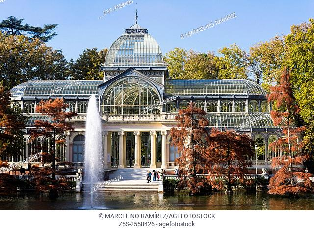 Crystal Palace in the Retiro Park in Madrid. Spain. Europe