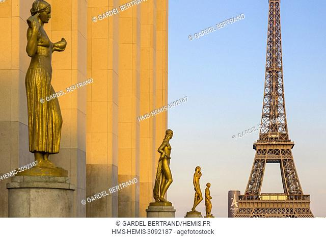 France, Paris, area listed as World Heritage by UNESCO, Place du Trocadero, Human Rights Park and the Eiffel Tower