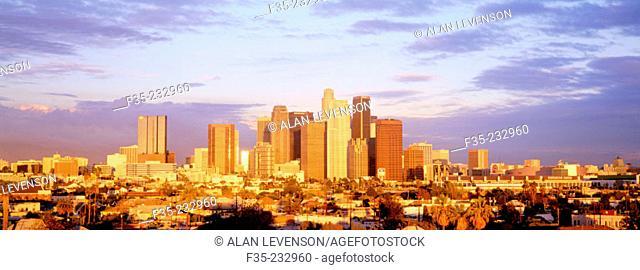 Los Angeles City Skyline at Sunset