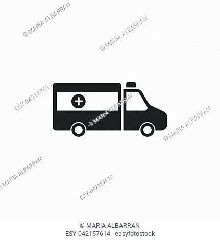 Isolated ambulance icon on a white background. Vector illustration