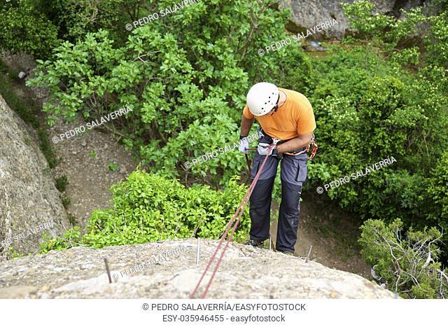 Rappelling a Ferrata in Vadiello, Guara Mountains, Huesca, Aragon, Spain