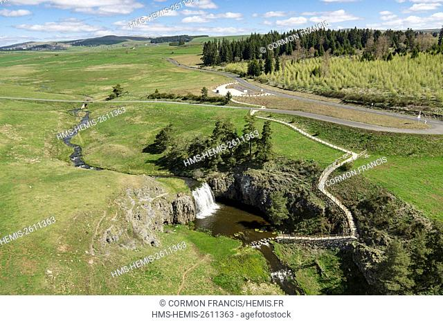 France, Auvergne, Cantal, Allanche, Regional Natural Park of the Auvergne Volcanoes, Veyrines cascade, Cézallier plates (aerial view)