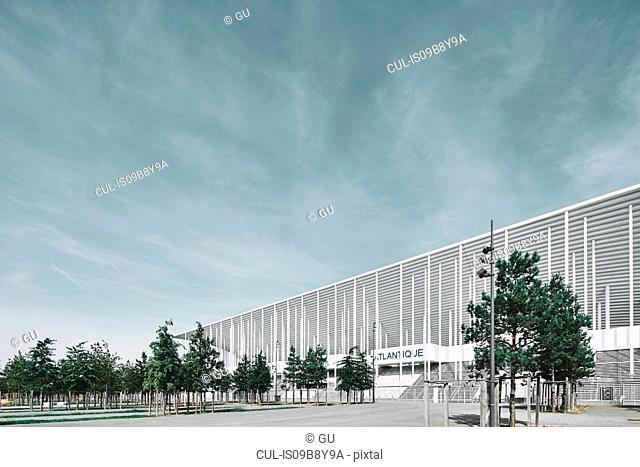 Angled view of the Nouveau Stade de Bordeaux football stadium, Aquitaine, France