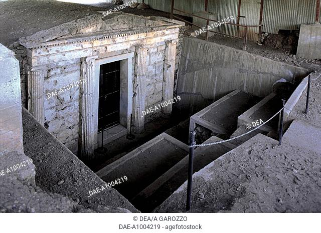 Greece - Central Macedonia - Vergina (UNESCO World Heritage List, 1996), Palatitsa. Macedonian tomb (3rd century b.C.). Entrance