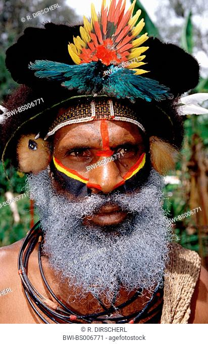 Huli wigman, portrait, Papua New Guinea, Tari