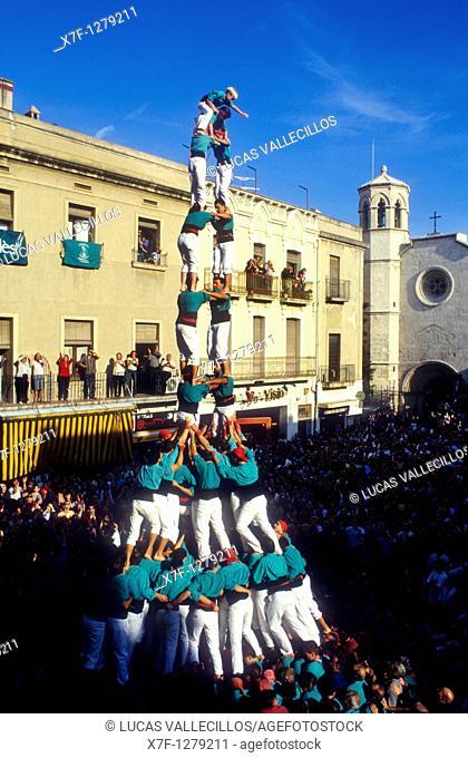 Castellers de Vilafranca 'Castellers' building a human tower, a Catalan tradition Plaça de la Vila  Vilafranca del Penedès  Barcelona province,Catalonia, Spain