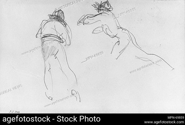Gondoliers. Artist: John Singer Sargent (American, Florence 1856-1925 London); Date: 1880-82; Medium: Graphite on off-white wove paper; Dimensions: 3 13/16 x 6...