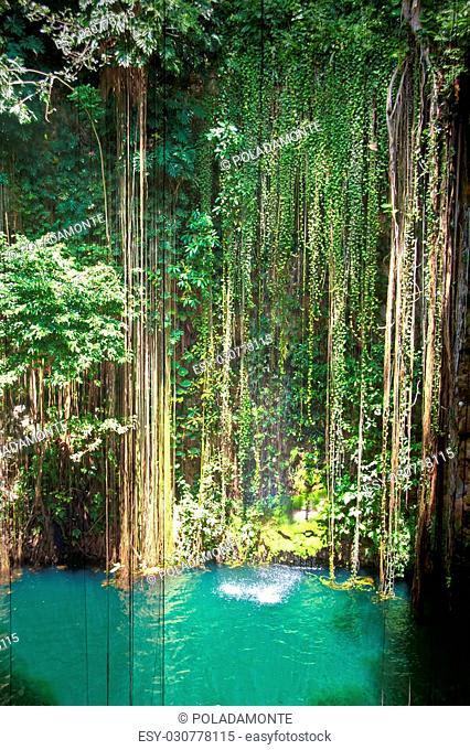Cenote de Ik Kil cerca de Chichen Itza, Mexico