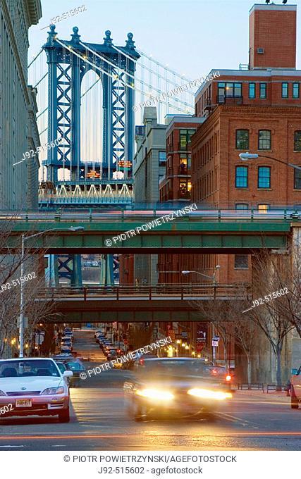 Manhattan Bridge. View from Cadman Plaza, Brooklyn. In forgraound BQE overpass. New York. USA