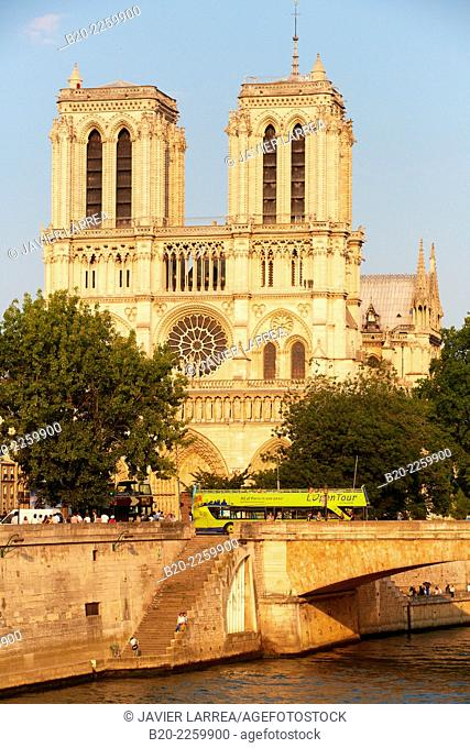 Notre Dame Cathedral. Seine river. Paris. France