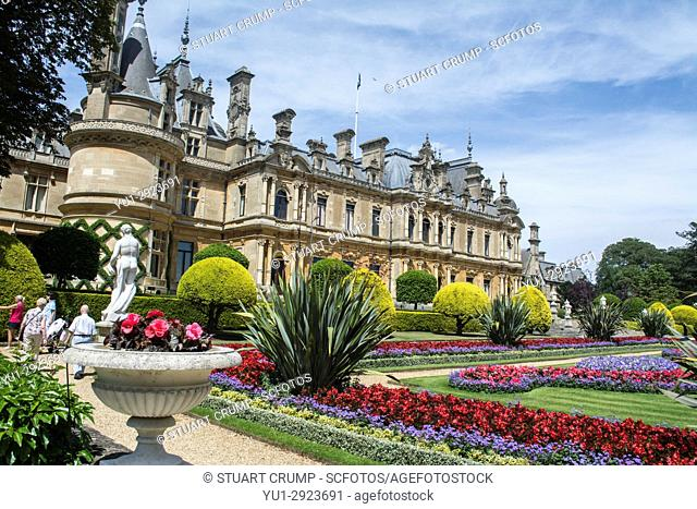 Rear facade and formal gardens of Waddesdon Manor