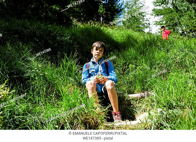 Portrait of 12-year-old boy sitting in the grass in the mountains, Livigno, Valtellina, Italy