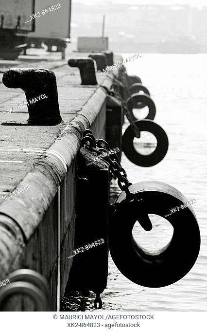 moorings and ship protections, Port Barcelona, Catalunya, Spain