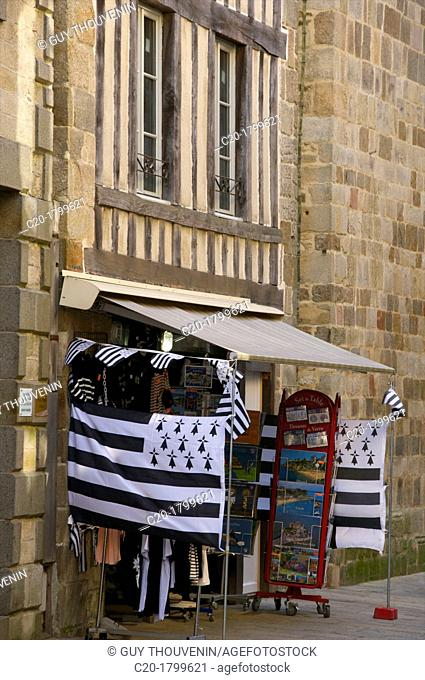 Tourists'shop with breton flag, Old Town, Dinan, Brittany, Cotes d'Armor, France