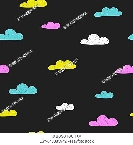 Seamless pattern with hand drawn funny clouds