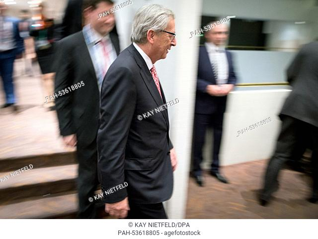 President of the European Commission Jean-Claude Juncker arriving for talks with Chancellor Merkel and Russian Presdient Putin during the G20 summit in Brisbane