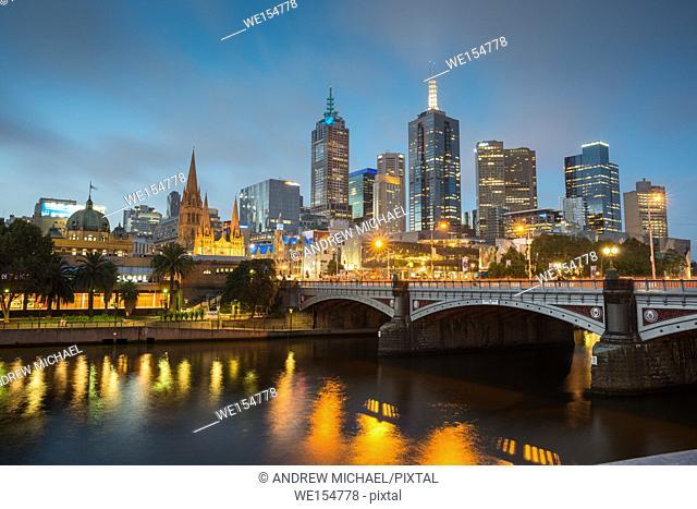 Melbourne city skyline over Yarra river after dark. Victoria. Australia