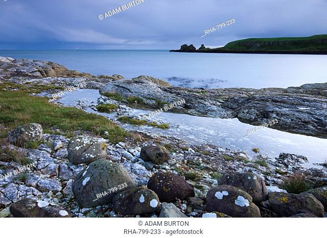 Rocky coastline near Portmuck on Islandmagee, County Antrim, Ulster, Northern Ireland, United Kingdom, Europe