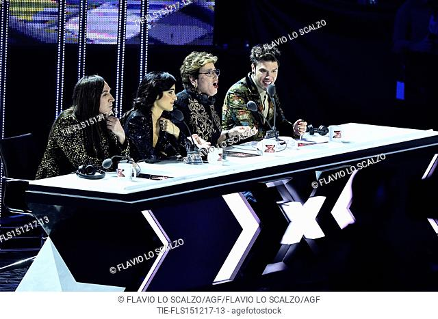 The jury of X Factor 2017 Manuel Agnelli, Levante, Mara Maionchi and Fedez during the talent show, Milan, ITALY-14-12-2017