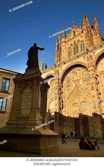 Main front of cathedral, Salamanca. Castilla-Leon, Spain