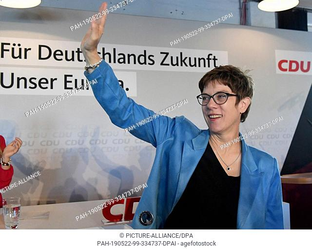 22 May 2019, Schleswig-Holstein, Kiel: Annegret Kramp-Karrenbauer, CDU Chairwoman, is on the podium at the freight station during the party's final spurt of the...