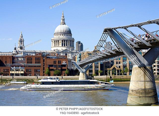 The Millenium 'Wobbly' Bridge and St  Pauls Cathedral London