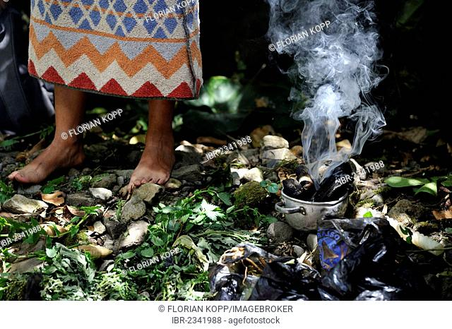 Incense burning, traditional ablutions to ward off evil spirits and to cleanse the soul of the indigenous Caranqui people