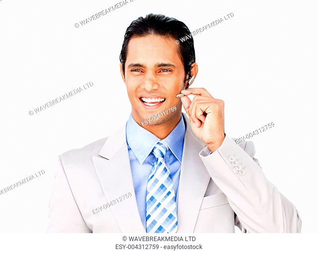 Confident businessman with headset on