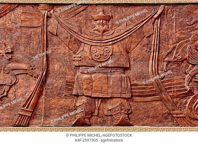 China, Inner Mongolia, Badain Jaran desert, Gobi desert, bas-relief at the desert entrance