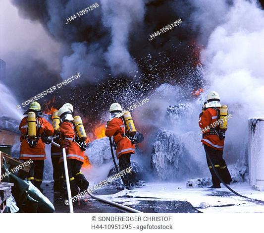 Switzerland, Europe, fire, fire brigade, department, fire, extinguish, firefighting, smoke