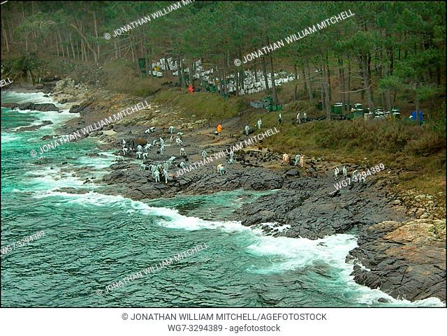 SPAIN Illas Cies (Cies Islands) -- 15/12/2002 -- Aerial view of volunteers clean rocks on a polluted stretch of the coastline of the Isle of Monteagudo - part...