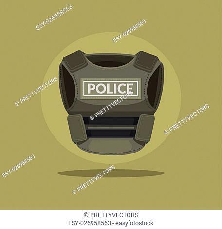 Bulletproof vest. Vector flat cartoon illustration