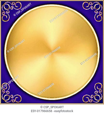 Vector abstract gold circle on purple background with ornament