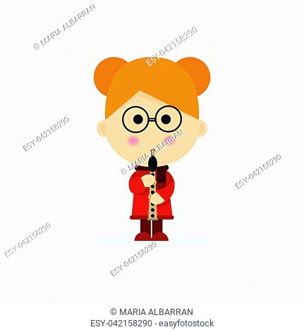 Christmas child playing the flute on a white background. Vector illustration