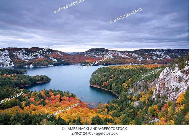 Wonderful autumn colour near 'The Crack' in Killarney Provincial Park, Ontario, Canada