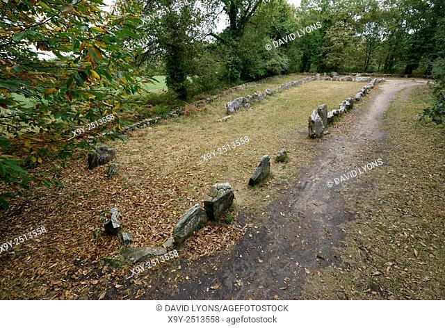 Carnac, Brittany, France. Prehistoric stone enclosure known as the Manio Quadrilateral or Le Quadrilatere de Manio