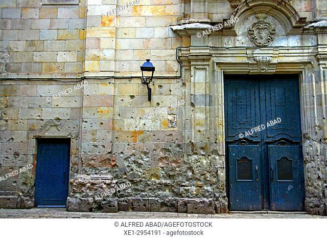 church of Sant Felip Neri, Gothic Quarter, Barcelona, Catalonia, Spain