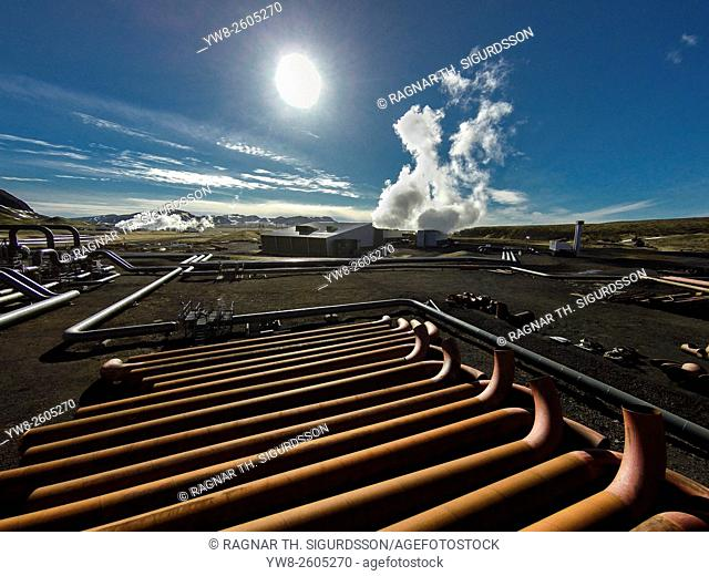 Pipes at The Hellisheidi Geothermal Power Plant, Iceland. Image shot with a drone