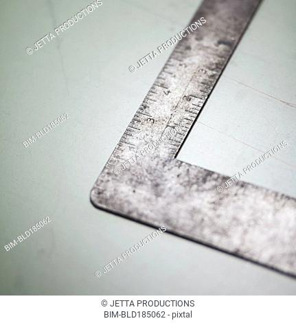 Close up of right-angle ruler