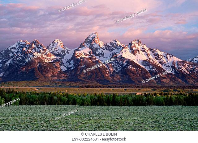 The Teton Mountain Range and sagebrush flats at sunrise in early summer, Grand Teton National Park, Teton County, Wyoming, USA