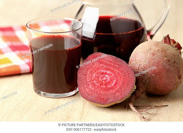 Jar of fresh juice of red beets