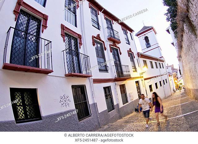 Albaicín Neighborhood, Albaycín, Albayzín, UNESCO World Heritage Site, Granada, Andalucía, Spain, Europe