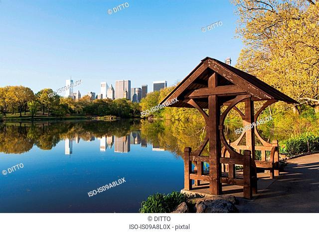 Pagoda on lake, Central Park, New York City, USA