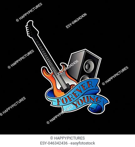 Illustration of electric guitar, audio speaker and blue ribbon with text Forever Young . Graphic design for tattoo, sticker, promo flyer or poster