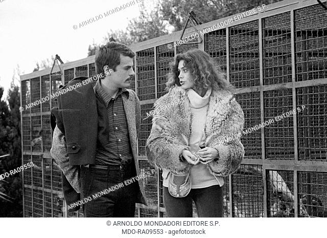 Italian actor Michele Placido and French actress Corinne Cléry (Corinne Piccolo) in Plot of Fear. 1976