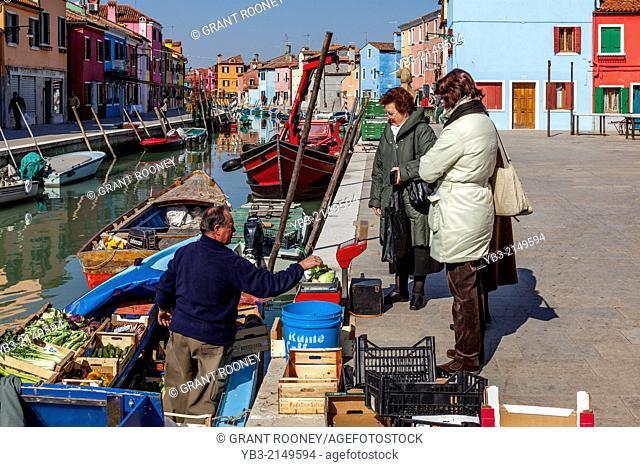 Mobile Fruit & Vegetable Shop, Burano Island, Veneto, Italy