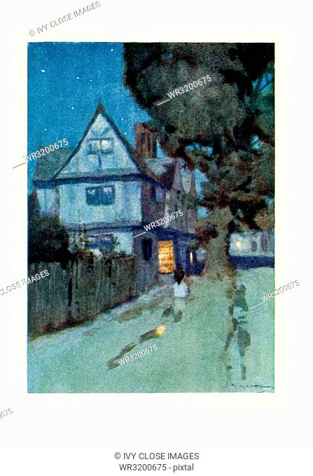 This illustration dates to the early 1900s and shows the House of the Seven Gables in Salem Massachusetts. The caption reads: A rusty wooden house